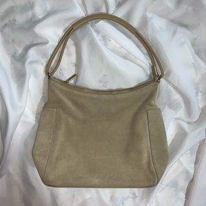 auth GUCCI zip top suede SHOULDERBAG tan $1295